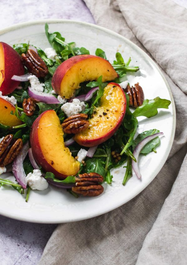 Peach and Goat Cheese Salad with Candied Pecans