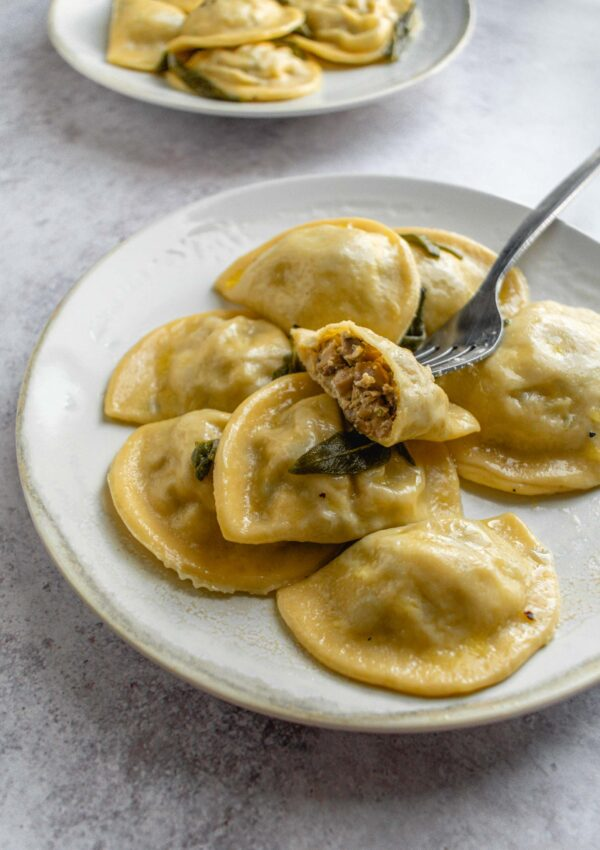 Mushroom Ravioli with sage brown butter sauce