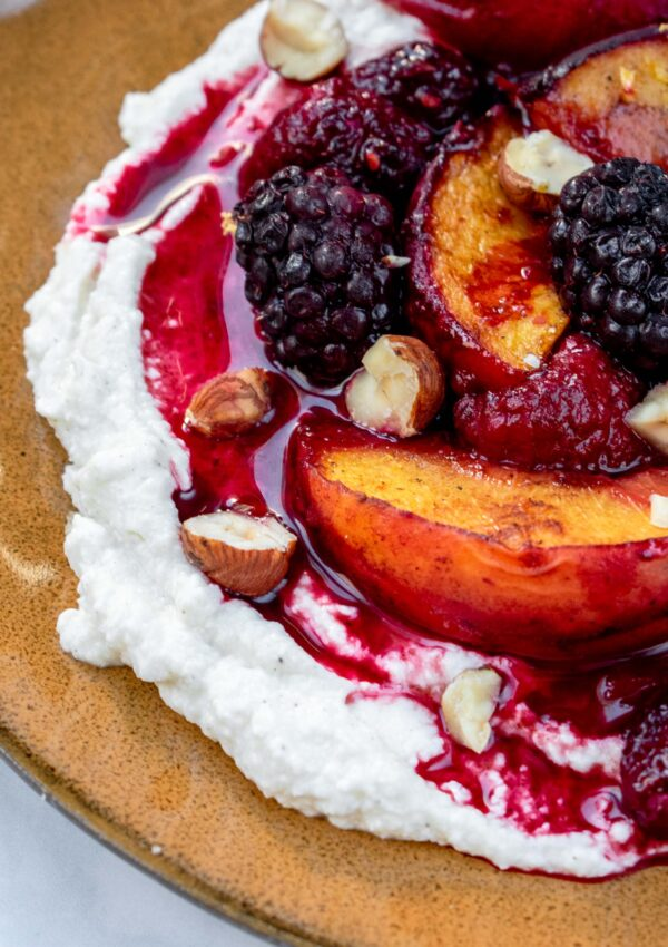 Roasted Summer Fruit Over Sweet Ricotta