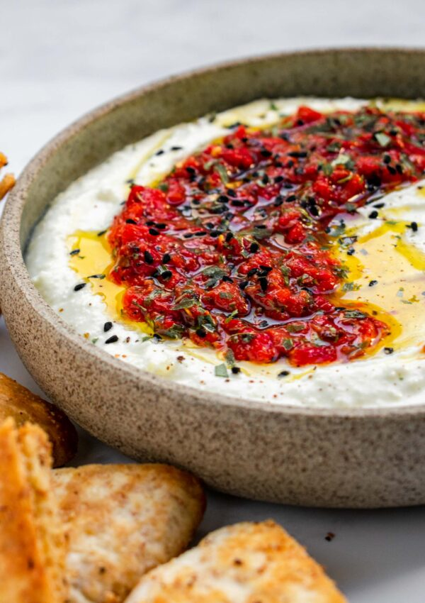 Whipped Feta Dip with Roasted Red Peppers Salsa